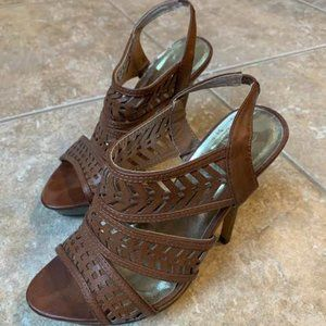 Brown Heels with Cutout Detail